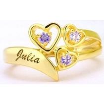 Anel Fem.ouro 18k,15 Anos,noivado,compromisso,personalizado