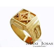 Anel Da Maçonaria / Maçom Em Ouro 18k (anel Maçônico)