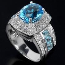 Anel Feminino De Prata 925 Folheado Ouro Topázio Swiss Blue