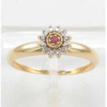 Esfinge Jóias- Anel Chuveiro Rubi Diamantes Aro20,5 Ouro 18k