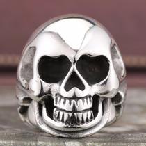 Anel Caveira Em Titânio Motoqueiro Moto Harley Rock Gotico