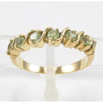 Esfinge Jóias- Anel Meia Aliança De Peridotos Aro13 Ouro 18k