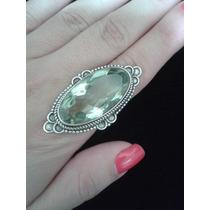 Anel Prata 925 E Cristal Citrino Verde Claro