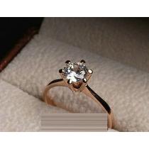 Anel Solitário Banhado A Ouro 18k Diamantes - Jóia Noivado