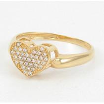 Esfinge Jóias - Anel Coração De Zircônias Aro20 Ouro 18k 750