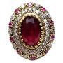 Hnx-anel Turquia Turco Prata 925 Cristal Rubi Rubi Zirconias