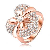 Anel Rommanel Coração Cravejado 70 Zirconias Ouro 18 K Rose