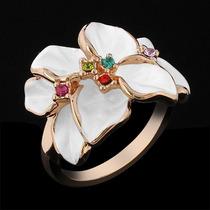 Anel Feminino Folheado Ouro Rose C/ Cristais Stellux Branco