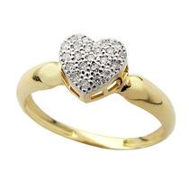 Anel Chuveiro Coração De Ouro 18k Com Brilhantes