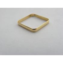 Santa Joia - Anel Quadrado Em Ouro Amarelo 18k (2 Gramas)