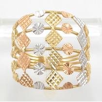 Esfinge Jóias - Anel Detalhado Três Cores Aro17 Ouro 18k 750