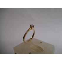 Anel Solitário Com Brilhante Ouro 18k 0750 Frete Gratis