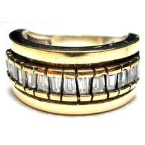 Gvh-anel Turquia Turco Prata 925 Zirconias Trapezio Frete 1,