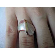 Anel Em Prata 950 Com Madrepérolas E Dois Apliques De Ouro