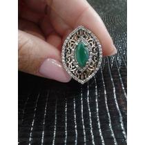 Anel Prata Maciça Turca 925 Com Pedra Verde Nº 16