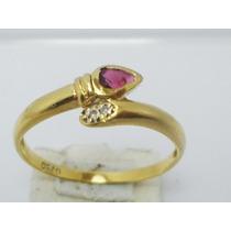 Boqueiraojoias Anel Cobra 2 Diamantes 1 Rubi Ouro 18k-750