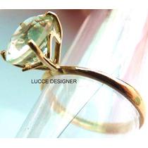 Anel Feminino Em Ouro 18k,pedra Natural,noivado, Compromisso