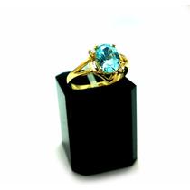 Anel 100% Ouro 18k Pedra Topázio Azul Diamantes
