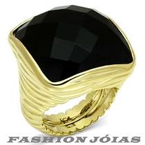 Anel Quadrado Onyx Pedra Natural Folheado A Ouro 18k Luxo