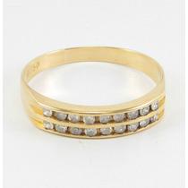 Esfinge Jóias- Anel Meia Aliança Diamantes Aro16 Ouro 18k750