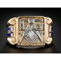 Anel Maçonaria Ouro 18k De Luxo Com Diamante 15p