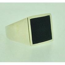 Anel Comendador Em Prata 950 Com Pedra Onix