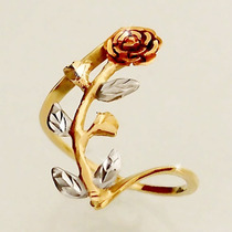 Anel Rosa Flor Em 3 Tons De Ouro 18k 750 Feminino