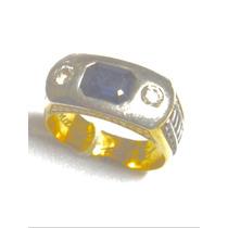 Anel De Formatura Antigo. Ouro Safira Brilhantes Engenharia