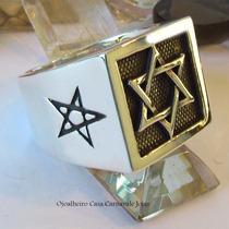 Anel Hexagrama Todo Em Prata Maciça Ojoalheiro