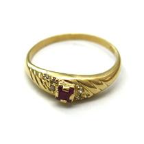 Anel Com Rubi E Brilhantes Em Ouro Amarelo Aro 17- A06