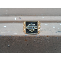 Anel Motor Harley Davidson Folheado A Ouro Motoqueiro
