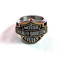 Anel Motor Harley Davidson Cycles Aço Inox E Dourado