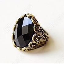 Anel Pedra Preta Bijuteria - Frete Gratis