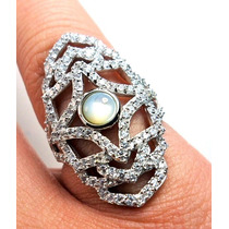 Ftb-anel Rendado Prata 925 Zirconias Madreperola Rodio Frete