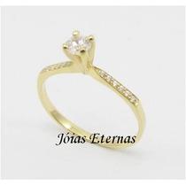 Jóias Eternas Anel Solitário Em Ouro 18k Com Diamante 25pts!