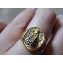 Anel Dourado Nossa Senhora Aparecida - Com Zircônias Azuis