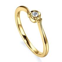 Anel Solitário Em Ouro 18 Quilate E Diamantes 5 Pontos