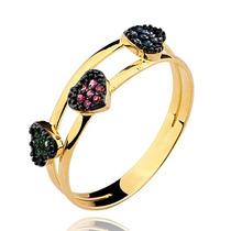 Anel Com Esmeraldas, Rubis E Safiras Em Ouro 18k Feminino