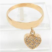 Esfinge Jóias- Anel Pingente Coração Diamante Aro18 Ouro 18k