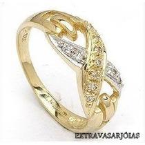 Lindo Anel X Em Ouro Amarelo E Branco 18k E Diamantes.