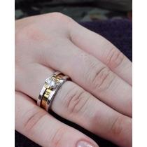 Anel/aliança Bvlgari Com Cristal Swarovski Banho A Ouro