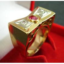 Antigo Anel Grandioso Diamantes E Rubi Em Ouro 18k