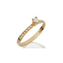 Anel Noivado Solitário Em Ouro 18k Com Diamantes - Cwb Joias