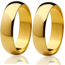 Par Aliança Aço Inox 5mm Lisa Dourada (saldão)