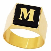 Shop Das Pedras Anel Masculino Com Letra Em Ônix Em Ouro 18k