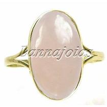 Anel Ouro Quartz Rosa Opalado 2.5cm Oval Cabuchão Fretegráts