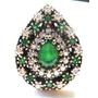 Hle-anel Turquia Turco Prata 925 Jade Esmeralda Zirconias