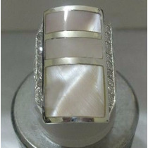 Anel Prata 950 Com Madrepérolas E Zircônias