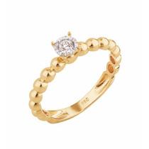 Solitário De Bolinhas Em Ouro 18k Com Diamante - Sol07