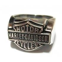Anel Simbolo Harley Detalhe Escrito (prata De Lei 950)